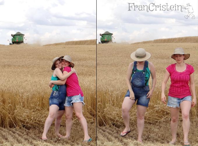 Abraço amiga e Fran coçando o saco que não tem