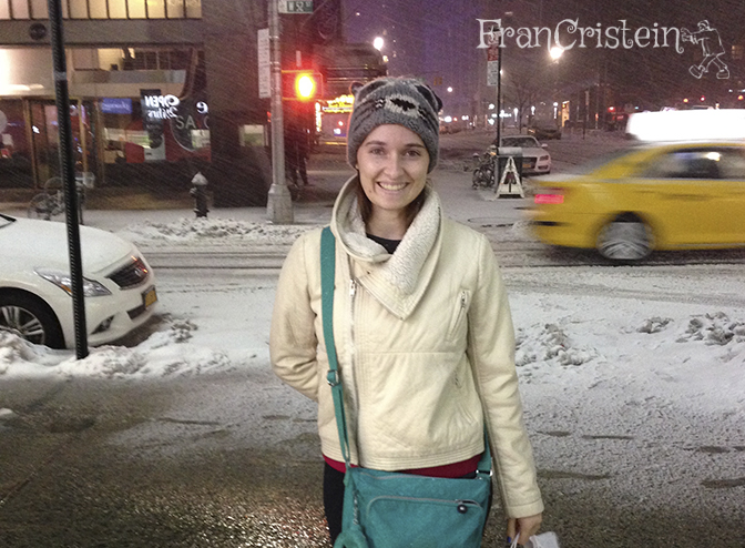 Faceira com o frio e a neve