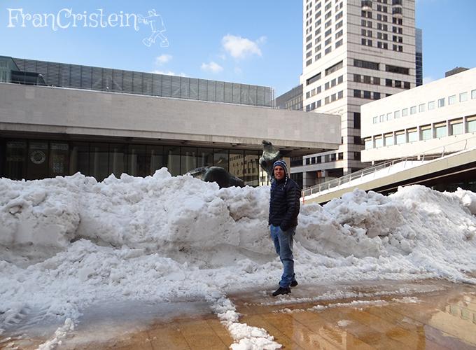 Muita neve que tinha caído no dia anterior!