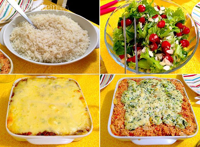 Arroz, salada, lasanha de bolonhesa e lasanha de frango = AMOR ETERNO, AMOR VERDADEIRO
