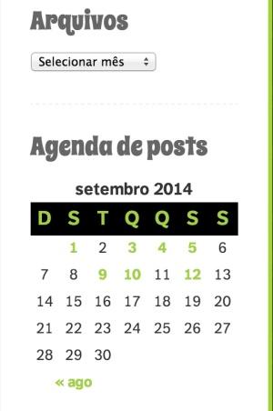 Arquivos e Agenda de posts