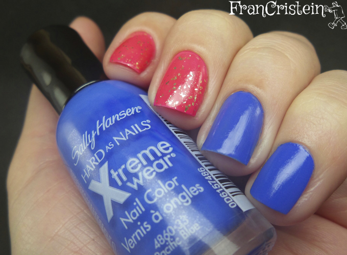 sally hansen pacific blue + claudia another pink + nyx gold glitter 2