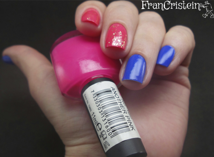 sally hansen pacific blue + claudia another pink + nyx gold glitter