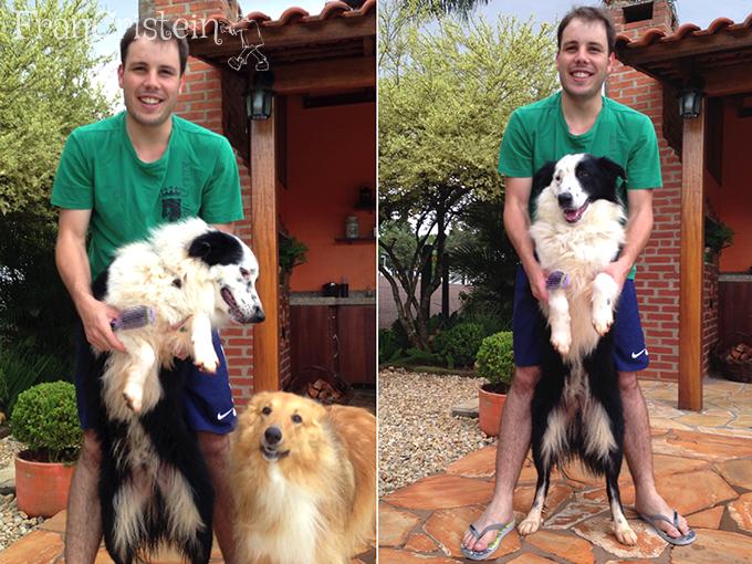 Só assim para sair uma foto decente, segurando o cachorro HAHA
